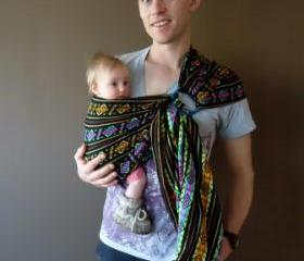 UCHI MAYAN BLACK RING SLING BABY CARRIER
